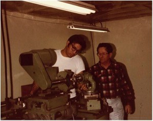 John Lieber with his father-in-law, Norm Schwend, working on a custom built profile grinder (1984)
